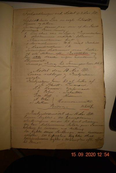 De to förste bestyrelsesmøder for Dana / Dansk Forening  1882